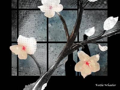 Rainy Day Mixed Media - Rainy Flower Cafe by Kelly Schutz