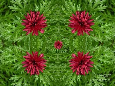 Rainy Flowers Kaleidoscope Art Print