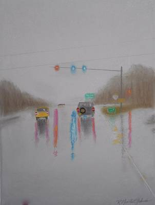 Rainy Foggy Drive In The Country  Art Print