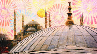Sunset Painting - Rainy Istanbul  Art by MotionAge Designs