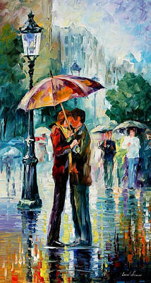 Rainy Kiss 2 - Palette Knife Oil Painting On Canvas By Leonid Afremov Original by Leonid Afremov
