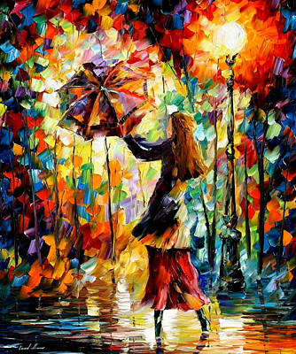 Rainy Mood 2 - Palette Knife Oil Painting On Canvas By Leonid Afremov Original by Leonid Afremov