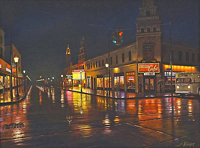 Rainy Night-117th And Detroit     Original by Paul Krapf