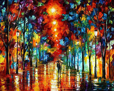 Free Painting - Rainy Night 2 - Palette Knife Oil Painting On Canvas By Leonid Afremov by Leonid Afremov