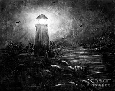 Barbara Griffin Art Painting - Rainy Night At The Lighthouse by Barbara Griffin