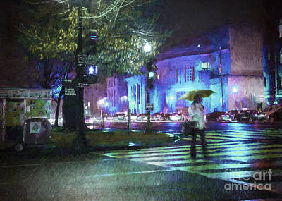 Rainy Night Blues Art Print by Terry Rowe