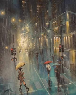 Rainy Night Blues Art Print by Tom Shropshire