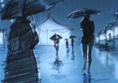 Umbrellas Mixed Media - Rainy Night by H James Hoff