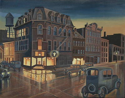 Depression Painting - Rainy Night In Buffalo by Stuart Swartz
