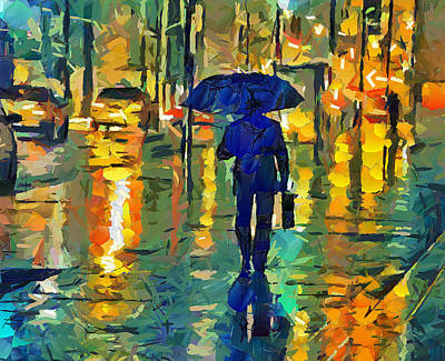 Nyc Digital Art - Rainy Night In Nyc by Yury Malkov
