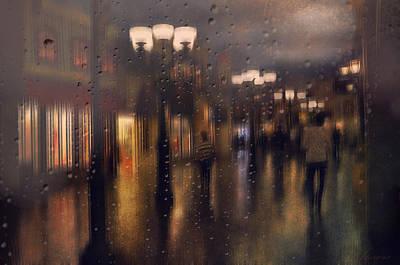 Shopping Center Photograph - Rainy Night by Maria Angelica Maira
