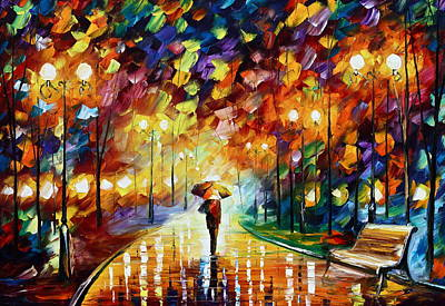 Rainy Park Original by Leonid Afremov