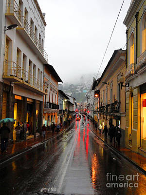 Rainy Quito Street Art Print by Al Bourassa