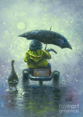 Tricycle Painting - Rainy Ride by Vickie Wade