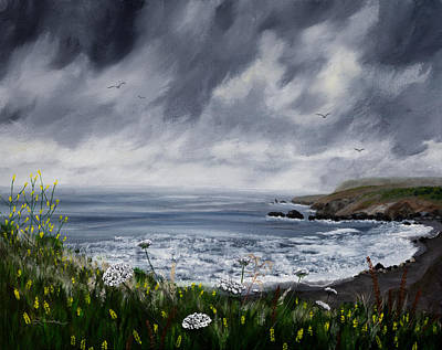 Grey Clouds Painting - Rainy Springtime In Pacifica by Laura Iverson