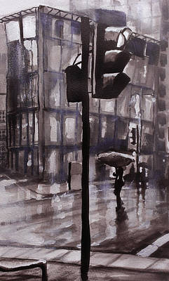 Monotone Painting - Rainy Street 2 by Paul Mitchell