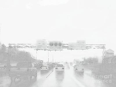 Digital Art - Rainy Taffic Light by Angelia Hodges Clay