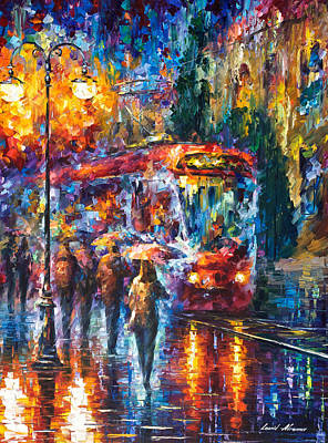 Rainy Trolley - Palette Knife Oil Painting On Canvas By Leonid Afremov Original by Leonid Afremov