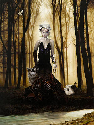 Woman Mixed Media - Raised By Wolves by Vic Lee