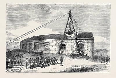 Raising Drawing - Raising A  Gun At The Gilkicker Battery Portsmouth 1871 by English School