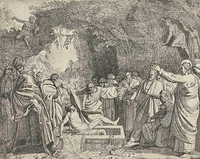 Martha Drawing - Raising Of Lazarus, Gerrit Bleker by Gerrit Bleker And Claes Jansz. Visscher (ii)