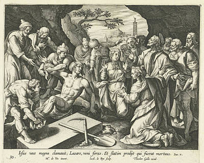 Raising Drawing - Raising Of Lazarus, Jacques De Bie, Theodoor Galle by Artokoloro
