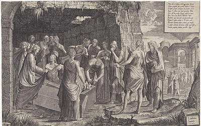 Raising Drawing - Raising Of Lazarus, Lambertus Suavius by Lambertus Suavius