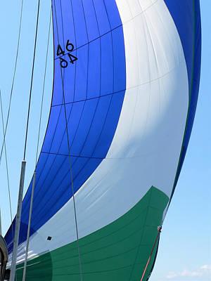 Raising The Blue And Green Sail Art Print
