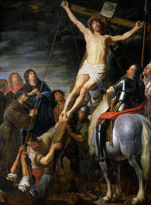 Pulley Painting - Raising The Cross by Gaspar de Crayer
