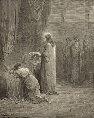 Resurrecting Drawing - Raising The Daughter Of Jairus by Antique Engravings
