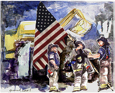 Wall Art - Painting - Raising The Flag At Ground Zero by Elle Smith Fagan