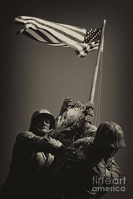 Photograph - Raising The Flag On Iwo - Front by Paul W Faust -  Impressions of Light