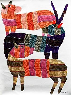 Gond Tribal Art Painting - Raj 88 by Rajendra Kumar Shyam