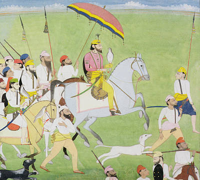 Saluki Painting - Rajah Dhian Singh Hunting by Indian School