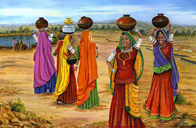 Rajasthani  Women Going Towards A Pond To Fetch Water Art Print by Vidyut Singhal