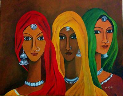 Rajasthani Painting - Rajasthani Women by Shylaja Nanjundiah