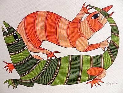 Gond Painting - Raju 133 by Rajendra Kumar Shyam