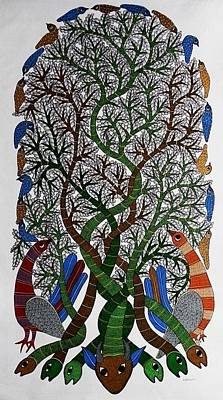Gond Tribal Art Painting - Raju 62 by Rajendra Shyam