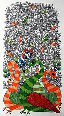 Gond Tribal Art Painting - Raju 65 by Rajendra Shyam