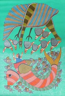Gond Tribal Art Painting - Raju 70 by Rajendra Shyam