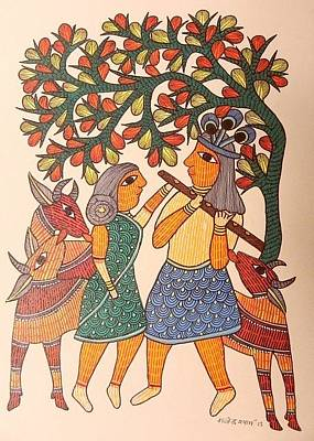 Gond Tribal Art Painting - Raju 81 by Rajendra Shyam