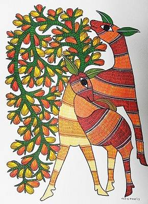 Gond Tribal Art Painting - Raju 83 by Rajendra Shyam