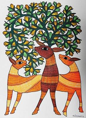 Gond Tribal Art Painting - Raju 84 by Rajendra Shyam