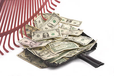 Rake Digital Art - Rake Raking Up American Cash Money by Keith Webber Jr