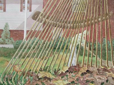 Painting - Raking Leaves by Tony Caviston