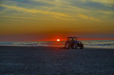 Rake Digital Art - Raking The Beach At Dawn - Avalon New Jersey by Bill Cannon