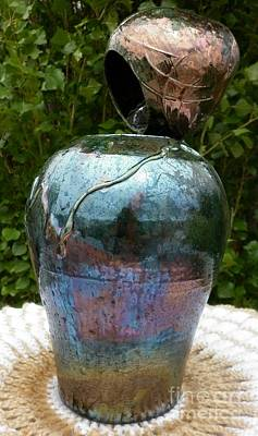 Yvonne Cacy Mixed Media - Raku Pottery Water Fountain by Yvonne Cacy