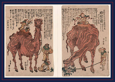 Camel Drawing - Rakuda No Zu, A Pair Of Camels. 1824., 1 Print 2 Sheets by Kuniyasu, Utagawa (1794-1832), Japanese