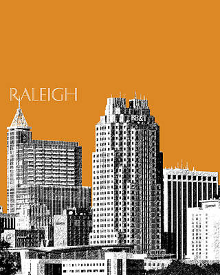 Raleigh Skyline - Dark Orange Art Print by DB Artist