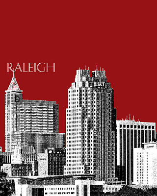 Raleigh Skyline - Dark Red Art Print